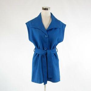 Trina Turk blue belted waist peacoat 6